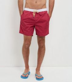 Bright Pink Contrast Trim Swim Shorts  | New Look