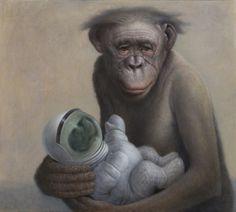 Chris Leib - Brooklyn, NY 'Bonobo with Astrochild' Monkey Art, Renaissance Paintings, Figure Painting, American Artists, Figurative Art, Traditional Art, Art Blog, Illustration, Oil On Canvas