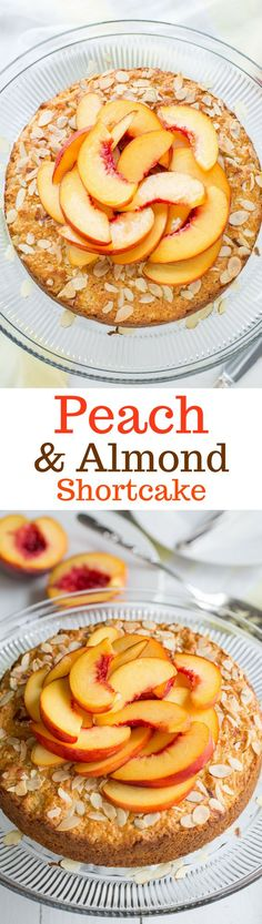 Peach & Almond Shortcake - A moist and lightly sweet cake made with almond paste for extra almond flavor. Top with sweetened whipped cream for a wonderful treat! Fruit Recipes, Cake Recipes, Dessert Recipes, Summer Recipes, Fruit Dessert, Almond Recipes, Brunch Recipes, Cupcake Frosting Recipes, Cupcake Cakes