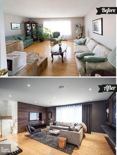 Antes y después: Sala contemporánea via Casa Haus