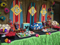 Mickey Mouse Luau! First Birthday Dessert Station  Decor by Southern Event Planners