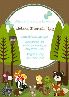Woodland Friends DIY Collection-  Birthdays, Baby shower Invites, Invitations 5x7 tall or wide