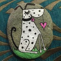 Hand Painted Beach Pebble Dog