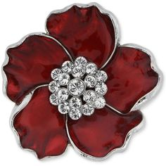 2028 Brooch, Silver-Tone Red and Crystal Flower Pin ($14) ❤ liked on Polyvore featuring jewelry, brooches, brooch, fillers, flowers, red crystal jewelry, flower brooch, floral brooch, silvertone jewelry and red jewelry