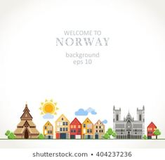 welcome to Norway traditional symbols panorama background Norway Tattoo, Illustrations, Seas, Welcome, Russia, Place Card Holders, Symbols, Posters, Journal
