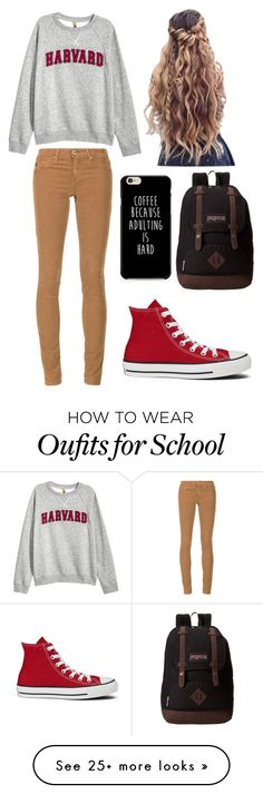 """Just a Normal school day"" by marissag261 on Polyvore featuring H&M, AG Adriano Goldschmied, JanSport and Converse"