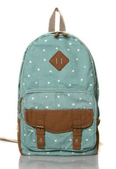 Latest Dot Embellishment Canvas Backpack - lilyby
