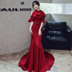 Wine red evening dress halter neck prom dress mermaid fish tail party dress banquet formal dress temperament noble evening dress on Storenvy Elegant Dresses For Women, Formal Dresses, Mermaid Evening Dresses, Classy Dress, Party Dress, Dress Prom, Lace Dress, Fish Tail, Dress Makeup