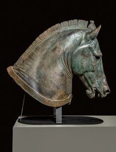 """Horse Head, """"The Medici Riccardi Horse,"""" about 350 B.C., bronze and gold. Museo Archeologico Nazionale, Firenze"""