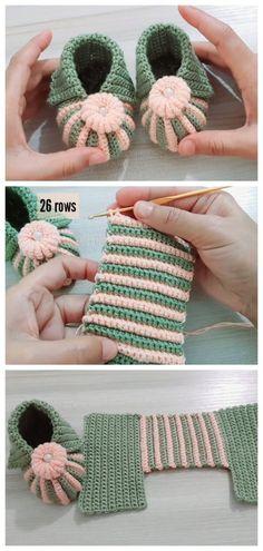 Baby Booties Knitting Pattern, Booties Crochet, Baby Knitting Patterns, Crochet Patterns, Crochet Crafts, Yarn Crafts, Crochet Projects, Crochet Birds, Crochet Bear