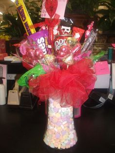 Valentine candy bouquet.