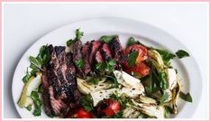 Grilled Hanger Steak with Fennel Salad Recipe : 51 Lincoln grills the tomatoes for this salad, but unless you have a screaming-hot grill, this can be tricky. Either way, use beefsteaks, which have an excellent ratio of flesh to seeds. Good Steak Recipes, Grilled Steak Recipes, Grilling Recipes, Beef Recipes, Griddle Recipes, Yummy Recipes, Recipies, Grilled Tuna Steaks, Salads