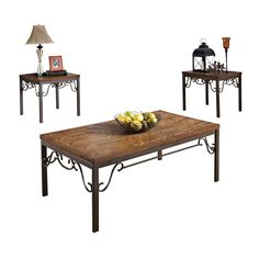Acme Furniture Barry Dark Bronze Metal and Oak 3-piece Coffee and End Table Set