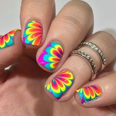 Rainbow water marble nail art  💗❤️💛💚💙💜   For this mani I used:  Pipe Dream Polish  @pipedreampolish On The List, 100 Degrees, Light of Day, Happy Hour, & VIP Pass @glistenandglow1 Wedding Gown White @vapidlacquer Quick dry topcoat 🎬tutorial up next  #prsample #pipedreampolish #glistenandglow #vapidlacquer #watermarblenails #birthdaynails