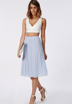 Pastel Blue Midi Skirt - Skirt - Bottoms - Retro, Indie and Unique ...