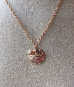 Rose Gold Shell and Pearl Necklace by Sheilasattic on Etsy, $12.50