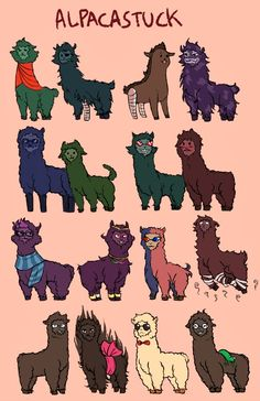 Homestuck, alpaca style -- Gamzee is the creepiest alpaca ever. D: Also lmao Aradia, hahahaha terezi!! and eridan looks sophisticated even alpaca'd