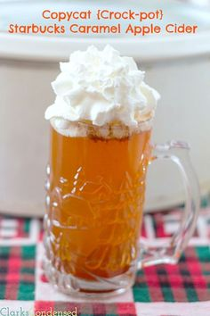 Copycat {Crock-pot} Starbucks Caramel Apple Cider by Clarks Condensed. (I'd maybe add butterscotch schnapps or caramel-flavored vodka or spiced rum to the final product. Non Alcoholic Drinks, Cocktail Drinks, Fun Drinks, Yummy Drinks, Party Drinks, Apple Recipes, Crockpot Recipes, Drink Recipes, Crockpot Drinks