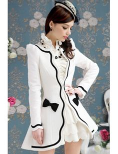 Top Quality Wool White Concise Style Open Collar Long Sleeve Jackets & Coats