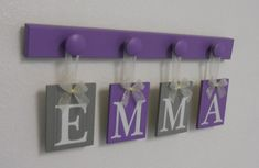 Purple and Gray Nursery Baby Girl Personalized Gifts - Baby Girl Name - EMMA - 4 Wood Hooks Lilac