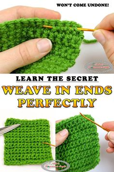How to weave in ends perfectly so they won't come undone. Learn the secret finally to your frustrations to have crochet projects for a life time to come. Awesome 15 Sewing tips are readily available on our site. Learn the Shocking Truth to the Crochet Sec Crochet Basics, Knit Or Crochet, Learn To Crochet, Crochet Crafts, Crochet Stitches, Crochet Hooks, Free Crochet, Crotchet, How To Crochet For Beginners