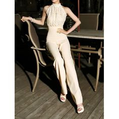 cdef4c8312e2 Vintage Turtleneck Faux Pearl Embellished Sleeveless Women s Jumpsuits  Embellished Jumpsuit