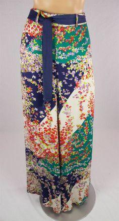 ELEVENSES Anthropologie Wide Leg Floral Pants Sz 10