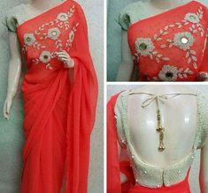 Different types of designer saree and blouse - ArtsyCraftsyDad Full Sleeves Blouse Designs, Sari Blouse Designs, Blouse Patterns, Fancy Sarees, Party Wear Sarees, Indian Dresses, Indian Outfits, Wedding Silk Saree, Simple Sarees