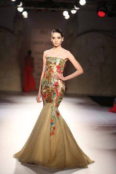 Gaurav Gupta at India Couture Week 2014 - strapless Indian wedding fusion gown dress