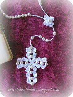 Crochet Angel Free Patterns &a Beaded Cross, Crochet Cross, Crochet Art, Love Crochet, Crochet Stitches, Faith Crafts, Knitting Patterns, Crochet Patterns, Crochet Bookmarks