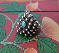 Smalto blu Nepalese vintage anello argento etnico Newari anello grande grosso…