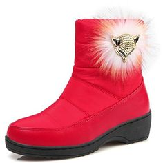 Women's Comfy Quilted Round Toe Fox Ankle High Pull On Warm Snow Boots Red >>> Check this awesome product by going to the link at the image. (This is an affiliate link and I receive a commission for the sales) #Outdoor