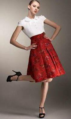 Carolina Herrera Bird Jacquard Full Skirt
