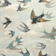 Buy John Derian Chimney Swallows Sky Blue from the extensive range of Designers Guild at Select Wallpaper. Tier Wallpaper, Book Wallpaper, Wallpaper Pictures, Animal Wallpaper, Fabric Wallpaper, Wallpaper Ceiling, Nursery Wallpaper, Wallpaper Online, Designers Guild