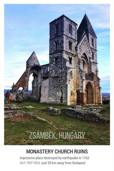 Day trip from Budapest: Ruins of Zsmbk monastery church destroyed by earthquake in Stunning place to visit. Europe Must See, Places In Europe, Europe Destinations, Best Places To Travel, Best Cities, Places To Visit, Vacation Trips, Day Trips, Vacations