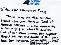 A message from Luke Kuechly