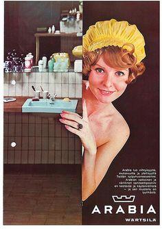 Turkoosi pesuallas kaunisti 1970-luvun suomalaiskoteja. http://www.ido.fi #bathroom #bathroomdesign #interiordesign #homespa #scandinaviandesign #bathroomideas #bathroomsink #interiordecoration #toilet #factory #sink #finnishdesign #bathroominspiration #ceramics #ceramicsoven #bathroomidea #tap #washbasin #fauset #behindthescenes #sanitary #porcelain #interiorideas #advertisement #history #toiletseat #printad #advertisement #marketing #retro #showercap