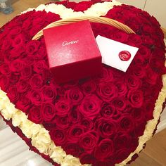 Big Heart of Roses Topped with Cartier...Yes, Please!