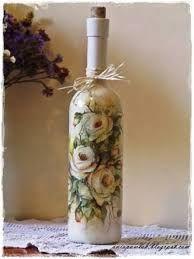 Resultado de imagem para how to fabric decoupage wine bottle Recycled Glass Bottles, Glass Bottle Crafts, Painted Wine Bottles, Vintage Bottles, Bottles And Jars, Wine Bottle Glasses, Wine Bottle Art, Photo Frame Decoration, Decoupage Glass