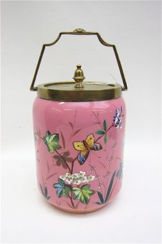 ENGLISH VICTORIAN HAND ENAMELED GLASS BISCUIT JAR, with butterflies, and floral decoration on pink ground, white interior; acid stamped Thos. Webb .