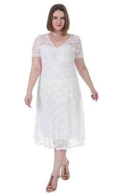 Sapphyra Women s Plus Double V Neck Sheer Sleeve Full Lace Dress Size 1X-5X. b86e65fbfb57