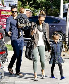 Fashion flair: Jessica Alba dressed up her daughters, Honor and Haven, in colour coordinating outfits to go out to breakfast on Saturday morning