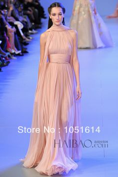 Elie Saab 2014 New Spring Fashion Design Rose Gold Chiffon Elegant Long Evening Dress