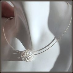 OOAK Fine silver Filigree Ball Necklace by LucilleParenteau