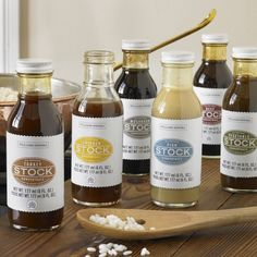 Williams-Sonoma Stock Concentrates in Fish, Mushroom, or Vegetable,  $12.95 each. Soup = love!