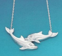 Double Dolphin Sterling Silver  Pendant Necklace