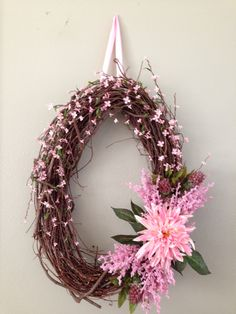 Pink Spring Grapevine Wreath Inspired by women who battle or have battled breast cancer