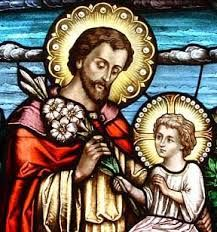 St Joseph and Jesus stained glass window.