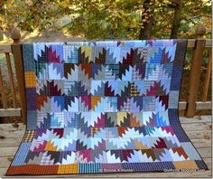 """Quiltville's Quips & Snips!!: Scrappy Mountain Majesties! posted by Bonnie K Hunter  Finished block size: 6""""X7.5"""" Lap Quilt size approx 60""""X70"""" -before quilting...You can start by making just one Mountain Majesties block at a time to get the technique down. When you get the idea and the light goes on as to what you are doing, you can easily chain stitch batches and assembly line the steps."""