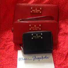 Kate Spade Bundle Travel Wallet: Pillbox Red, Grand Street Layton Wrislet: Pillbox Red, Cara Bifold Wallet: Navy. I have a new project that I'm working on, so selling my things to help. You guys can comment with interest and offers. XoHappy Poshing kate spade Bags Clutches & Wristlets